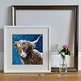 Framed Giclee print of a Snowy Highland Cow
