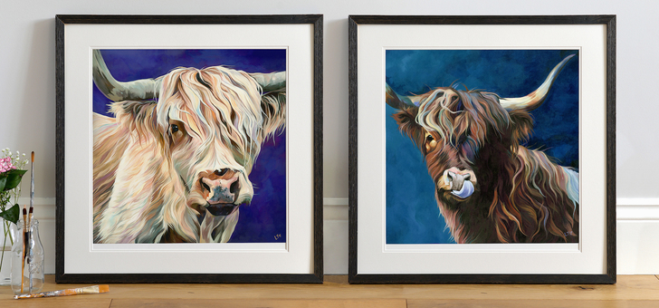 Lizzie & Ronnie, two Highland Cattle art prints by Lauren's Cows