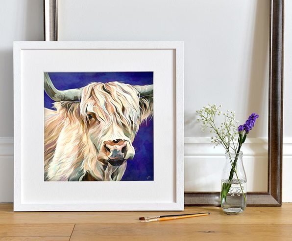 Ronnie, Blonde Highland Cow Painting by UK Artist Lauren Terry