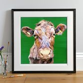 Vibrant Limousin Cow Face painting by Lauren Terry