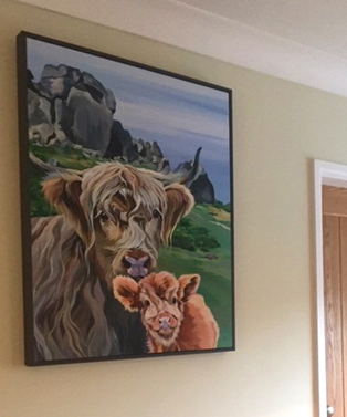 Cow and Calf painting commission by Lauren's Cows
