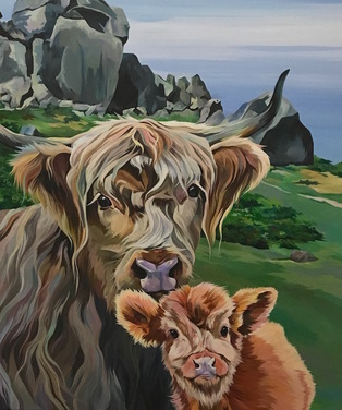 Original Painting of a Highland Cow and Calf